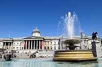 Trafalgar Square fountains and The National Gallery, London, England, UK