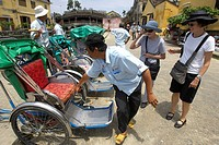 Tourists Prepare To Take A Bicycle Taxi, Hoi An, Vietnam
