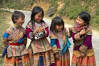 Rural Vietnam, Flower Hmong Hill Tribe Children, Bac Ha, Vietnam