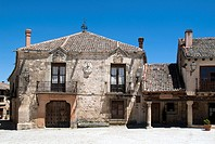 Buildings in Main Square, Pedraza, Segovia province, Castilla-Leon, Spain