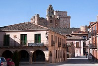 Castle as seen from Main Square, Turegano, Segovia province, Castilla-Leon, Spain