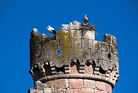 Towers of castle, Turegano, Segovia province, Castilla-Leon, Spain