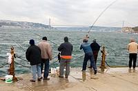 Fishermen Üsküdar district Istanbul Turkey Asia