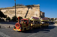Harbour ALGHERO SARDINIA Small train tourist old city tour and city walls