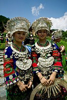 Miao young women in Miao traditional costume, Leishan County, Kaili, Guizhou Province, China
