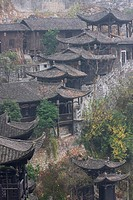 Tujia traditional architecture on the hillside, Furong Town, Xiangxi Tujia and Miao Autonomous Prefecture, Hunan, China