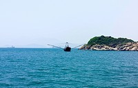 Fishing boat on South China Sea, Hong Kong, China