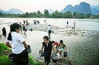 Nam Xong River. Vang Viang. Laos.