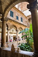 Cloister in the gotic cathedral. Majorca. Balearic Islands. Spain.