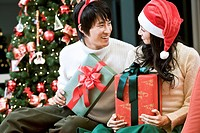 Young man and woman with the Christmas tree and gift boxes (thumbnail)