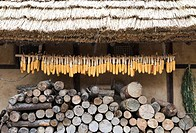 Korean traditional architecture, corns hung under the eaves