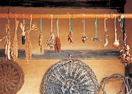 Korean traditional architecture, crops and farming tool hung under the eaves