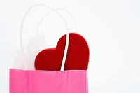 heart shape in shopping bag