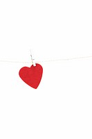 heart shape hung on clothesline