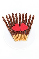 stick cookies and heart shape