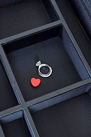 ring and heart shape in the jewel box