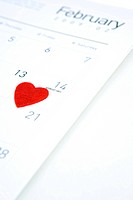 heart shape on the calender