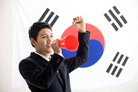 businessman in front of Korean flag, Taegeukgi