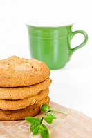 cookies on paper bag and mug