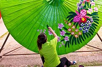 Umbrella making, Bo Sang umbrella village, near Chiang Mai, Northern Thailand