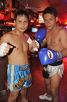 Pattaya (Thailand): Muay Thai boxers along the Walking Street