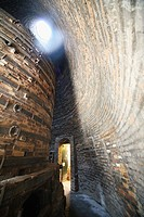 The inside of a bottle oven or kiln used for firing pottery at Gladstone Pottery Museum, Stoke-on-Trent, Staffs, England