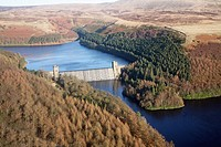 Aerial oblique shot of the Howden Dam on The Ladybower Reservoir, Derbyshire, England