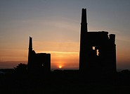 2 Cornish tin mines at sunset near to Pendeen, Cornwall, England, UK