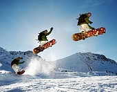 Snowboarder jump right in