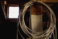 Alberta, Canada, A Lasso Hanging In A Barn