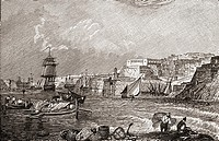 The Grand Harbour, Valetta, Malta after the painting by Turner  From the book Short History of the English People by J R  Green, published London 1893