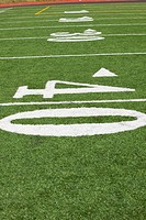 the yard lines marked on a football field