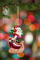 oregon, united states of america, a santa claus ornament on a christmas tree
