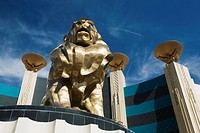 Las Vegas, Nevada, United States Of America, A Lion Statue And Male Figures Holding Bowls