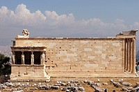 The Erechtheion, on the northern side of the rock of the Acropolis