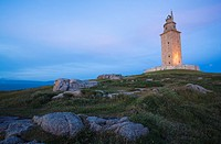 Tower of Hercules, the only existing and working Roman era lighthouse. La Coruna, A Coruña, Galicia, Spain.