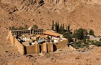 view of the St Katherine's monastery under Mount Sinai Moses in the Sinai mountains of Egypt