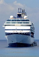 Cruise ships tendered in harbor Grand Cayman Islands Caribbean Georgetown