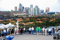 People viewing Downtown Tampa Bay Florida Skyline and homes from Cruise Ship