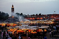 Djemaa el-Fna square at sunset  Marrakech, Morocco