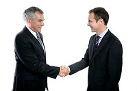 adult businessman handshake expertise portrait dark suit white background
