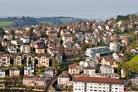 Cityscape of Lucerne, Switzerland, aerial view
