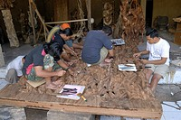 Wood carvers, Mas, Bali, Indonesia, Asia