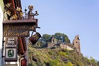 Wine shop and ruins of Are Castle in the background, Altenahr, Rhineland_Palatinate, Germany, low angle view