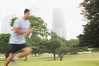 Man running in park