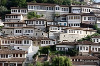Riverfront buildings, Berat, Albania, Europe