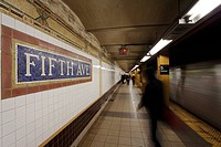 Subway station and train in motion, Manhattan, New York City, New York, United States of America, North America&10,