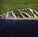 Aerial image of Chalk Cliff just east of White Nothe, on the Jurassic Coast, UNESCO World Heritage Site, Dorset, England, United Kingdom, Europe