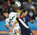 JOHANNESBURG - JUNE 18: Zlatan Ljubijankic of Slovenia l and Carlos Bocanegra of the United States r battle for the ball during a 2010 FIFA World Cup ...