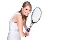 Frau mit Tennisschläger